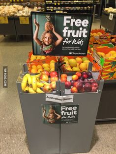 Their local supermarket offers free fruit to children.