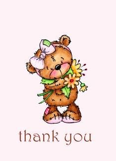 Sweet Teddy Bear Thank You Card