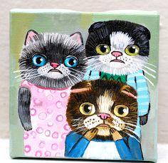 three cats.   original painting on canvas