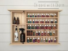 Essential Oil Rack, Essential Oil Storage, Essential Oil Bottles, Wood Shelves, Display Shelves, Easential Oils, Coffee Mug Display, Cabinet Dimensions, Natural Cleaning Products