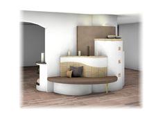 Kachelofen als Raumteiler mit Kummer-Keramik Floor Chair, Flooring, Design, Furniture, Home Decor, Tiling, Tiles, Modern Ceramics, Wood Burner