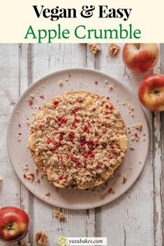 In love with apple crumble? Here's how to make your favourite easy dessert in a really quick way. Delicious, fun and decadent too, full of flavours you like. #vegan #apple #crumble #pie #dessert