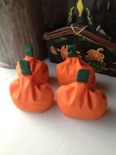Pumpkin bean bags for a Fall toss game