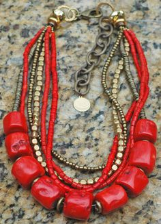 Red Infusion Necklace: Bold Red and Brass Statement Necklace $350 * this version is without the pendant and chain and the price reflects the difference