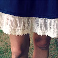 Tutorial: how to take a too-short dress or skirt and add length simply by sewing on some lace.