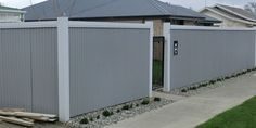 wood framed corrugated metal fence - Google Search
