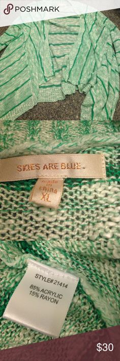 Stitch fix skies are blue cardigan XL green/white Nice weight for summer. Worn once. Like new. Stitch fix item. Skies Are Blue Sweaters Cardigans