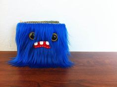 Royal Blue Monster Wallet Two Yellow Eyes by ShopGhoulieGirls, $24.00
