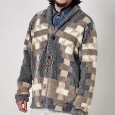 Casual colorblock plaid long sleeve jacket – okrobe Sweater Jacket, Men Sweater, Unique Fashion, Mens Fashion, Order Checks, Print Jacket, Winter Wear, Woven Fabric, Color Blocking