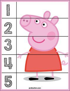 Peppa Pig Number Puzzles - Activities For Toddlers With Autism Counting Puzzles, Number Puzzles, Pig Crafts, Preschool Activities, Early Learning, Kids Learning, Toddler Activities, Activities For Kids, Puzzles For Toddlers