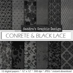 "Digital paper: ""CONCRETE & BLACK LACE"" with pretty black lace patterns on concrete texture (435)"