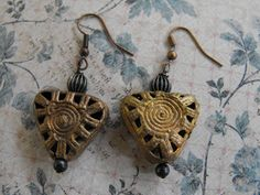 BRASS AFRICAN TRADE beaded earrings by FancySchmancyJewels on Etsy, $15.50