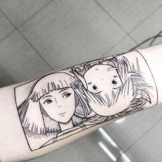 """Chihiro & Haku 💚 from the movie by Studios Ghibli """"Spirited Away"""" Gra . Anime Tattoos, Body Art Tattoos, New Tattoos, Small Tattoos, Cool Tattoos, Tatoos, Tatuaje Studio Ghibli, Studio Ghibli Tattoo, Tattoo Studio"""