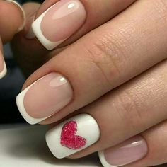 Beautiful nails, Fashion french, French manicure with heart, French nails 2017, Heart nail designs, Hearts on nails, Ideas of gentle nails, Romantic nails