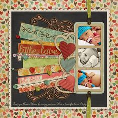 Single page scrapbook layout 3 photos baby buttons ribbon Scrapbooking Album, Baby Scrapbook Pages, Scrapbook Sketches, Scrapbook Page Layouts, Scrapbook Paper Crafts, Scrapbook Cards, Scrapbook Photos, Scrapbook Patterns, Kids Scrapbook