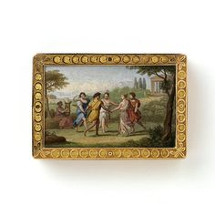 A rectangular, varicoloured-gold snuffbox, the cover set with a glass micromosaic depicting five figures in classical dress dancing in a ring to the music of a lyre in an Arcadian landscape, a temple in the background, after Claude Lorrain. The panel is bordered by stylized foliage on a matted ground, the sides with engine-turned panels, the base with a dancing peasant couple on a matted ground, all within similar borders.
