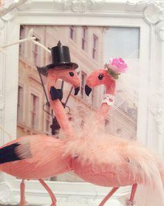 BIG SALE flamingo wedding cake topper flamand by MissRoseDanae