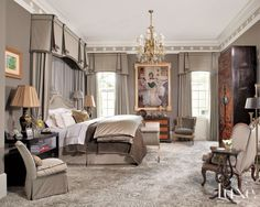 Gray Classical European Master Bedroom | LuxeWorthy - Design Insight from the Editors of Luxe Interiors + Design