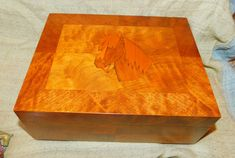Vintage HORSE HEAD Inlaid Wood Jewelry Box ~ Multi Type Wood Burl Storage Box Red Lining ~  Equestrian Western Country Memory Picture Gift by EclecticJewells on Etsy