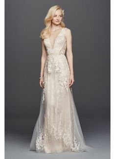 Tulle A-Line Wedding Dress with Plunging V-Neck SWG722 [http://www.davidsbridal.com/Product_illusion-plunging-v-neckline-tulle-wedding-dress-4xlswg722_all-wedding-dresses]