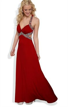Long Prom Dress with Halter Straps and Cut Out Sides with Stone Trim also in black.