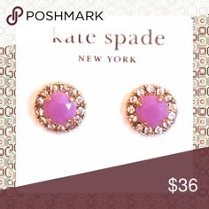 "❤FLASH SALE❤️kate spade Lavender Stud Earring❤️ ❤️NWT 14K Gold plated elegant stud earrings from Kate spade. Diameter .5""with a rhinestone pave design around faceted lavender gemstone❤️ kate spade Jewelry Earrings"