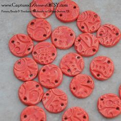 5 Tango Red Pottery beads or links by CapturedMoments on Etsy, $12.50