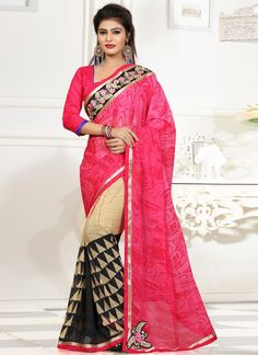 We have ensemble a symphony of enchanting piece to restyle your senses. Make an adorable statement in such a smashy pink georgette casual saree. This desirable attire is showing some remarkable embroi...