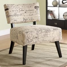 French chair   French Script Fabric Accent Chair - $267.30 : Furniture Store shipped ...