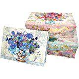 Punch Studio Fresh Flowers Large Nesting Rectangle Flap Boxes -- Set of 3