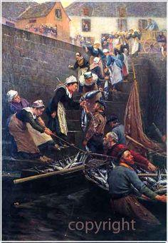 """""""Débarquement du thon"""", 1902 - Alfred Guillou, 1844-1926"""