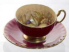 Aynsley tea cup & saucer fruits interior