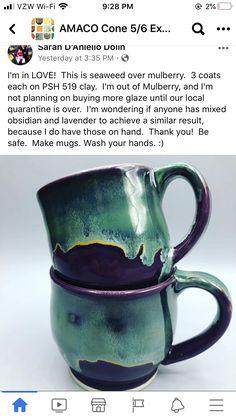 Clay Mugs, Ceramic Mugs, Ceramic Art, Glazes For Pottery, Pottery Mugs, Ceramic Pottery, Pottery Techniques, Glazing Techniques, Amaco Glazes