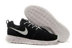 official photos 4245c b89ca Hot Sale Nike Roshe Run Suede Women Running Shoes Black White Online