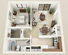 50 One U201c1u201d Bedroom Apartment/House Plans | Bedroom Apartment, Small Dining  And Apartments