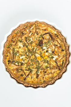 Mushroom Quiche with Spelt Berry Crust and Tahini Drizzle
