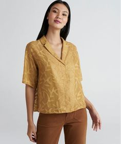 655c639e1 Camisa Cropped com Textura Feminina Mindset Manga Curta Mostarda