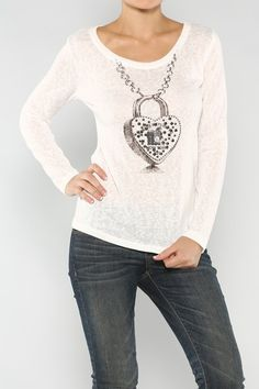 Heart Lock Top #wholesale #fall #cardigan #sweater #pants #jacket #sweater #fashion #clothing #ootd #wiwt #shopitrightnow #graphics #patterns #heart