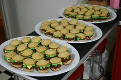 Cute and fun Mini Hamburger cupcakes with real looking cheese. Easy to cook at home for birthday parties or childrens events. Great idea for a Spongebob party by making Krabby Patty burgers or even a 50s diner party theme - Click image to find more DIY & Crafts Pinterest pins