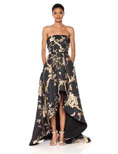 Mac Duggal Women's Strapless Hi-Low Floral Brocade Gown, Black/Gold, 8