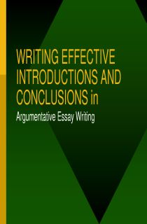 POWERPOINT: Writing Introductions and Conclusions for Argumentative Essays, FREE document download for teachers