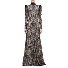 Alexander McQueen Long-Sleeve Open-Back Lace Gown ($8,090) ❤ liked on Polyvore featuring dresses, gowns, lace evening gowns, lace evening dresses, lace gown, long sleeve a line dress and a line gown
