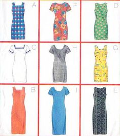Butterick 4998 - Sheath dresses with neckline variations. (1997, no longer in print)