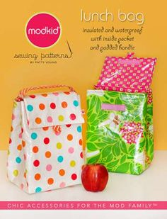 Lunch Bag - by Modkid - Mini Micro PatternSECONDARY_SECTION$8.00: Fabric Patch: Patchwork Quilting fabrics, Moda fabric, Quilt Supplies,�Patterns