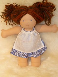 Waldorf Doll Clothes Embroidered Linen Apron