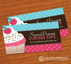 Fully customizable cupcake business cards created by Colourful Designs Inc. Copyright 2013-2014.