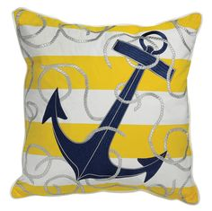 Outdoor or indoor nautical home throw pillow that will catch your eye with its' yellow and white stripes and deep navy blue anchor.