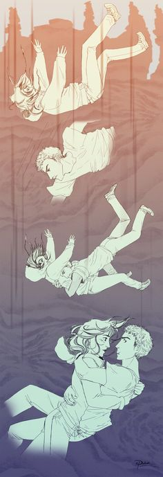 """""""""""In a heartbeat, he caught up with Piper, who was flailing wildly. He tackled her waist and closed his eyes, waiting for death. """" (Falling - Lost Hero chapter 2 by palnk on DeviantArt) Jason Grace, Piper And Jason, Magnus Chase, Percy Jackson Art, Percy Jackson Fandom, Rick Y, Uncle Rick, The Lost Hero, Mark Of Athena"""