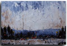 Original Abstract Painting on stretched canvas - Mountain City - April 14th by Tatjana Ruzin - palette knife painting - 18x24