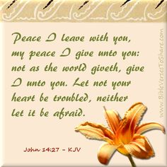 """""""Peace I leave with you, my peace I give unto you: not as the world giveth, give I unto you. Let not your heart be troubled, neither let it be afraid."""" John (KJV) - Bible Verses To Share Bible Verses Kjv, King James Bible Verses, Favorite Bible Verses, Scripture Quotes, Bible Proverbs, Faith Quotes, Love The Lord, God Is Good, Gods Love"""